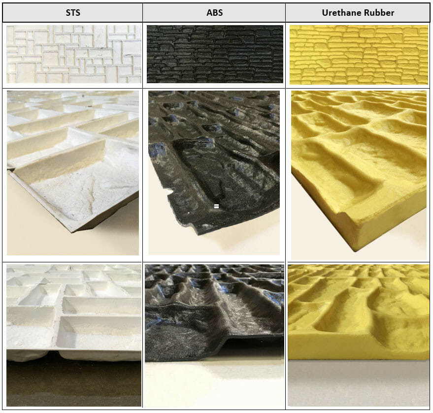 Concrete Form Liners, Why choose polyurethane form liners?, Top Elastomeric Concrete Form Liners (Capable of 50-100 Pulls), Top Elastomeric Concrete Form Liners (Capable of 50-100 Pulls)